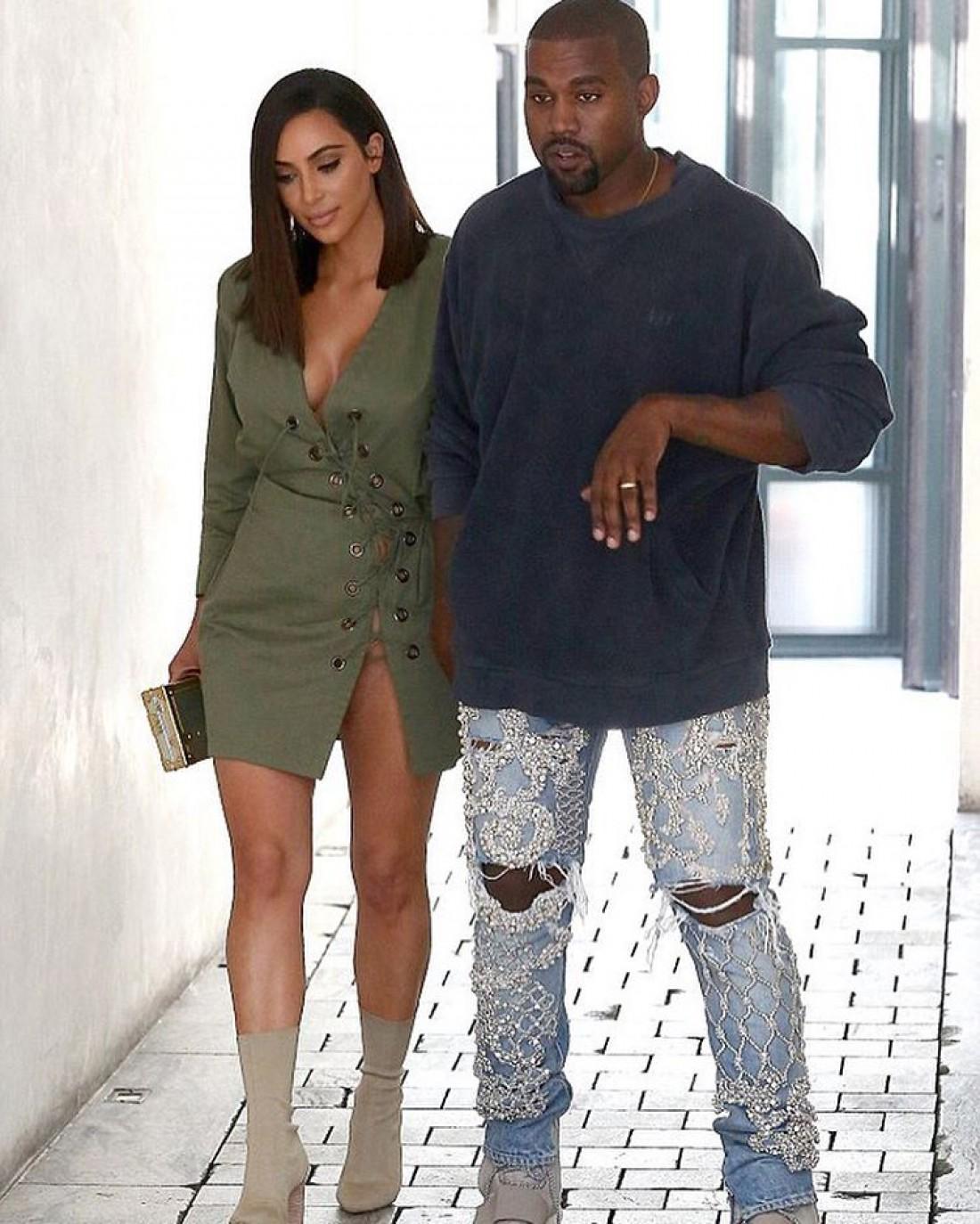 Ким с мужем Канье