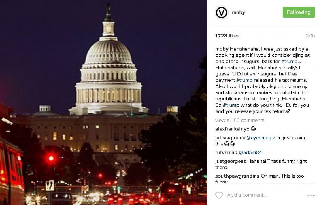 Пост Моби в Instagram