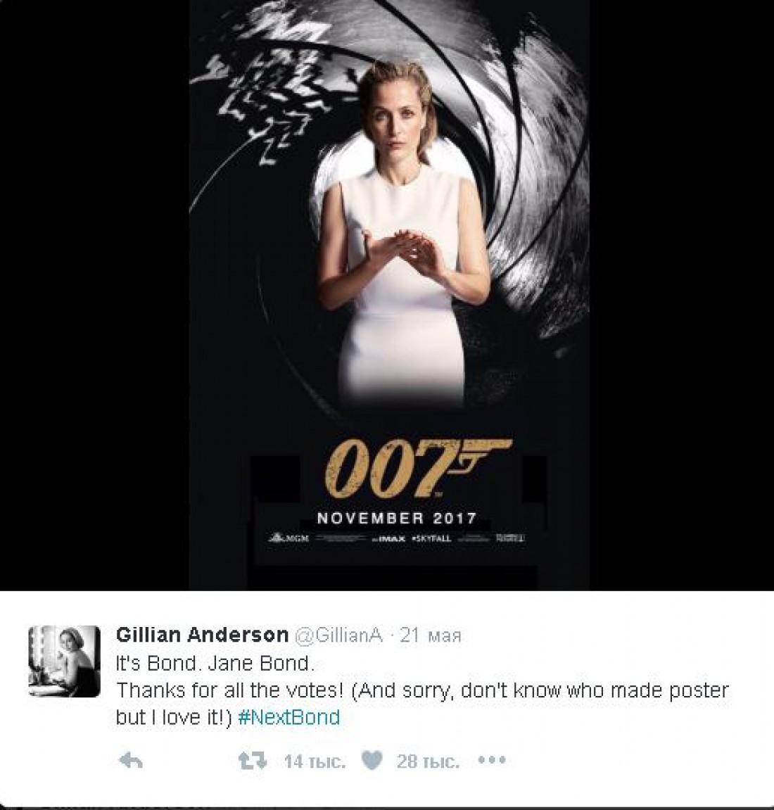 Пост в Twitter Джиллиан Андерсон