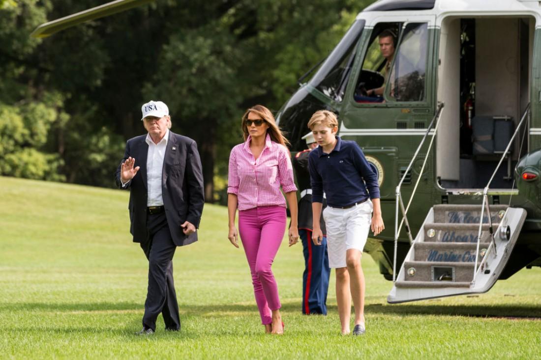 Меланья и Дональд Трамп c сыном
