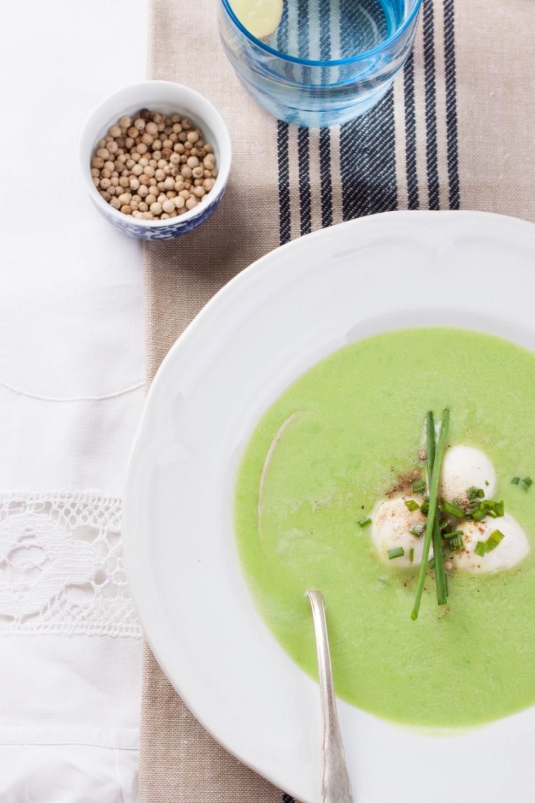 Весенний суп-пюре из зеленого горошка
