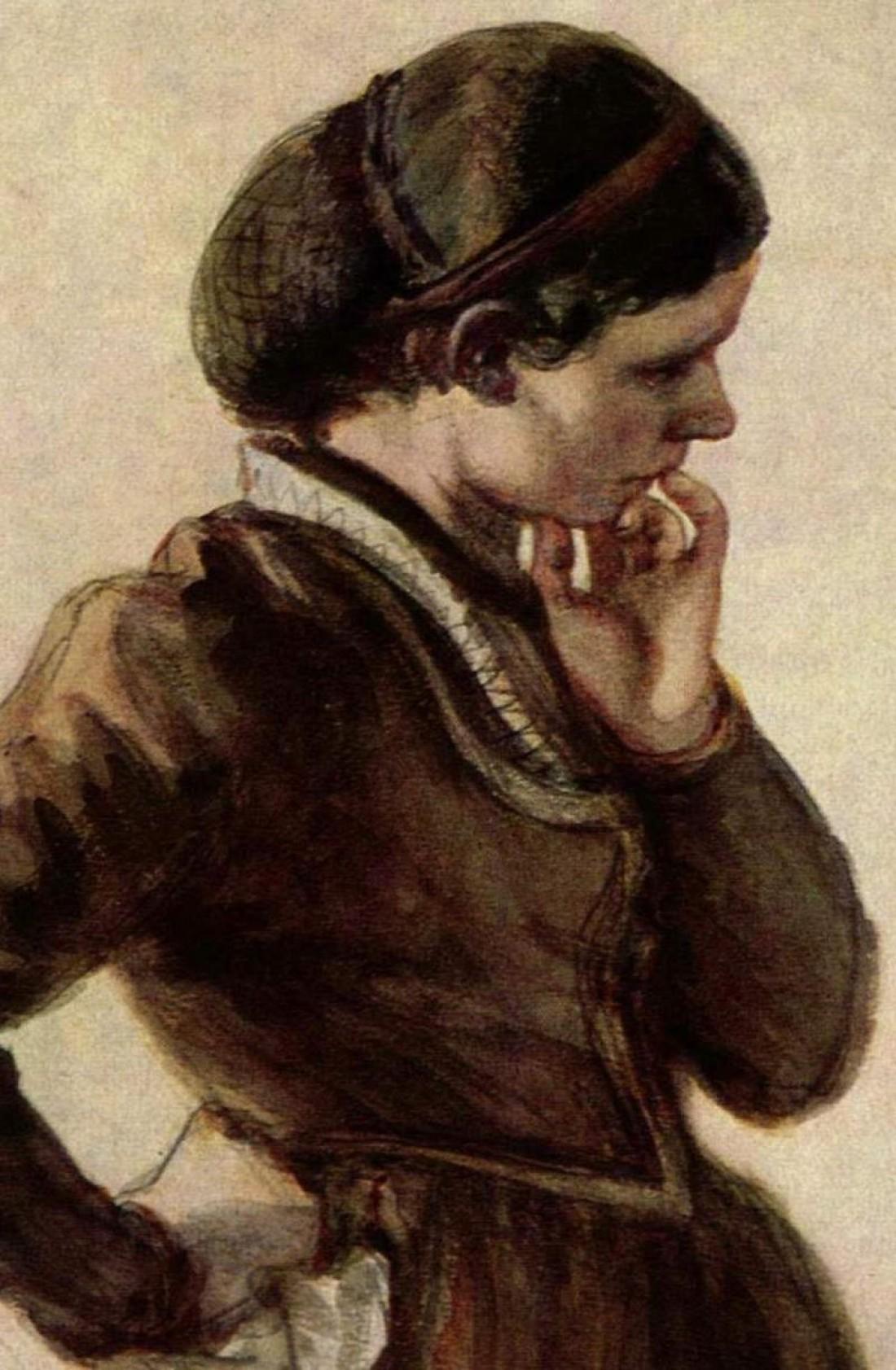 Портрет женщины в снуде для волос авторства Адольфа Мензеля