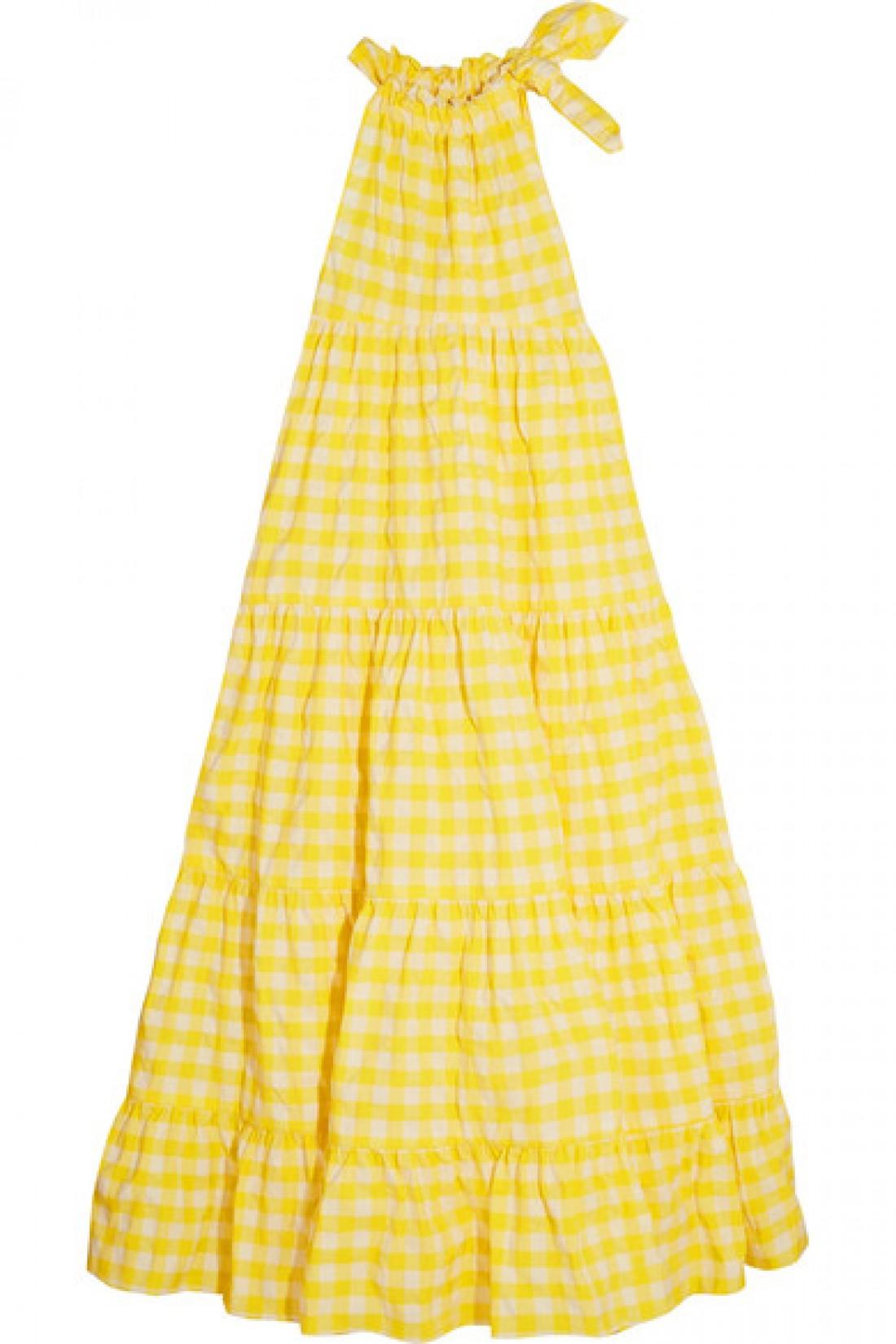 Платье в бело-желтую клетку