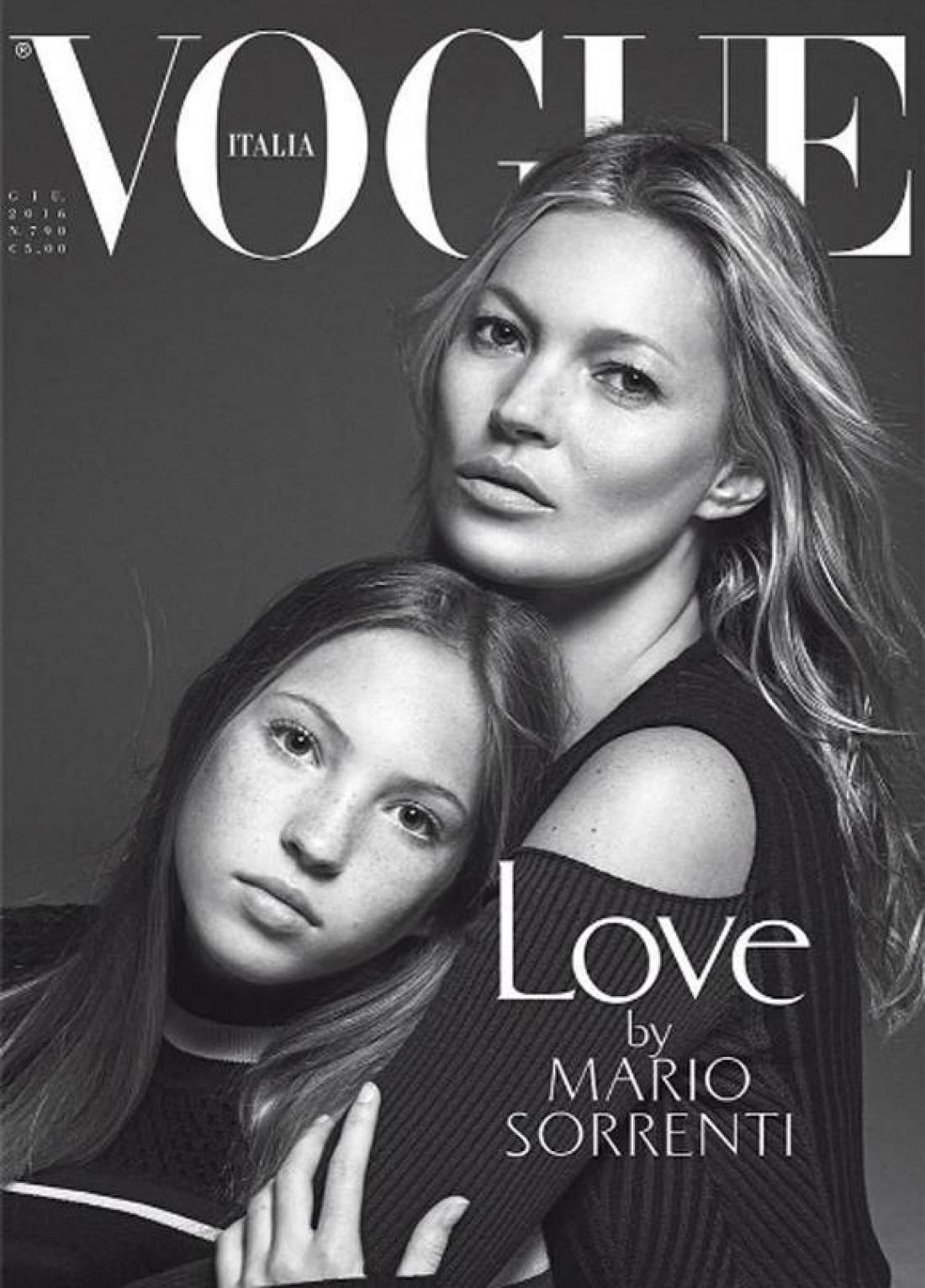 Модель Кейт Мосс с дочерью Лилой Грэйс на обложке итальянского Vogue