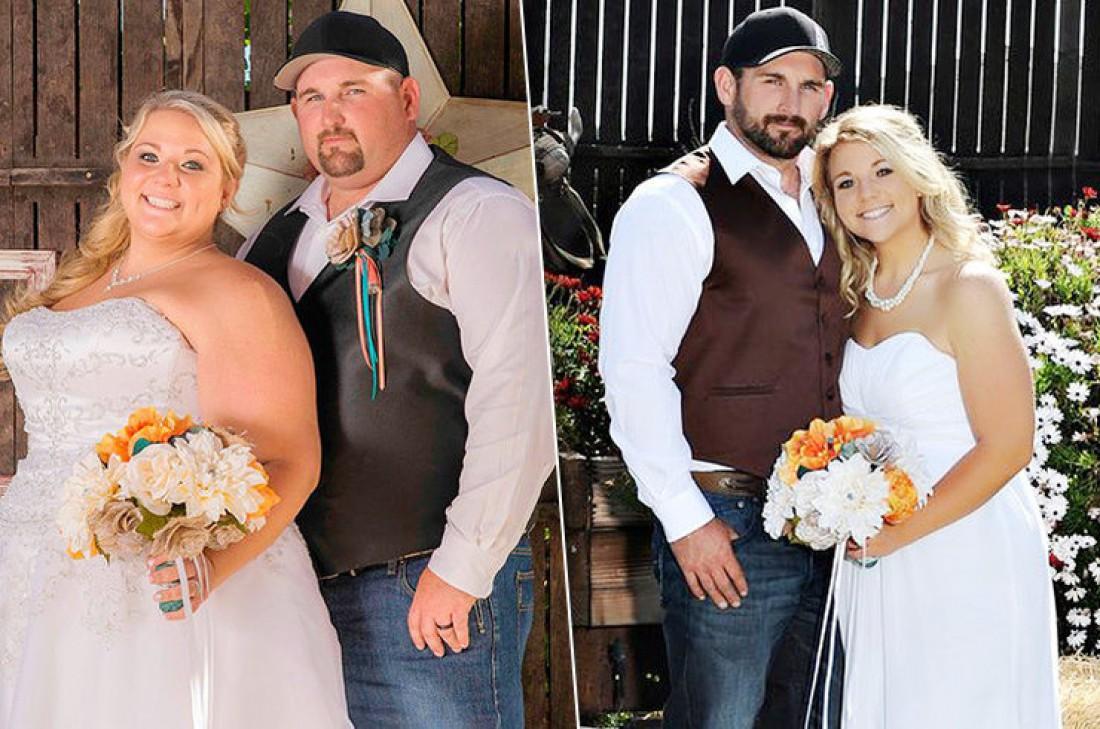 Пара до и после похудения
