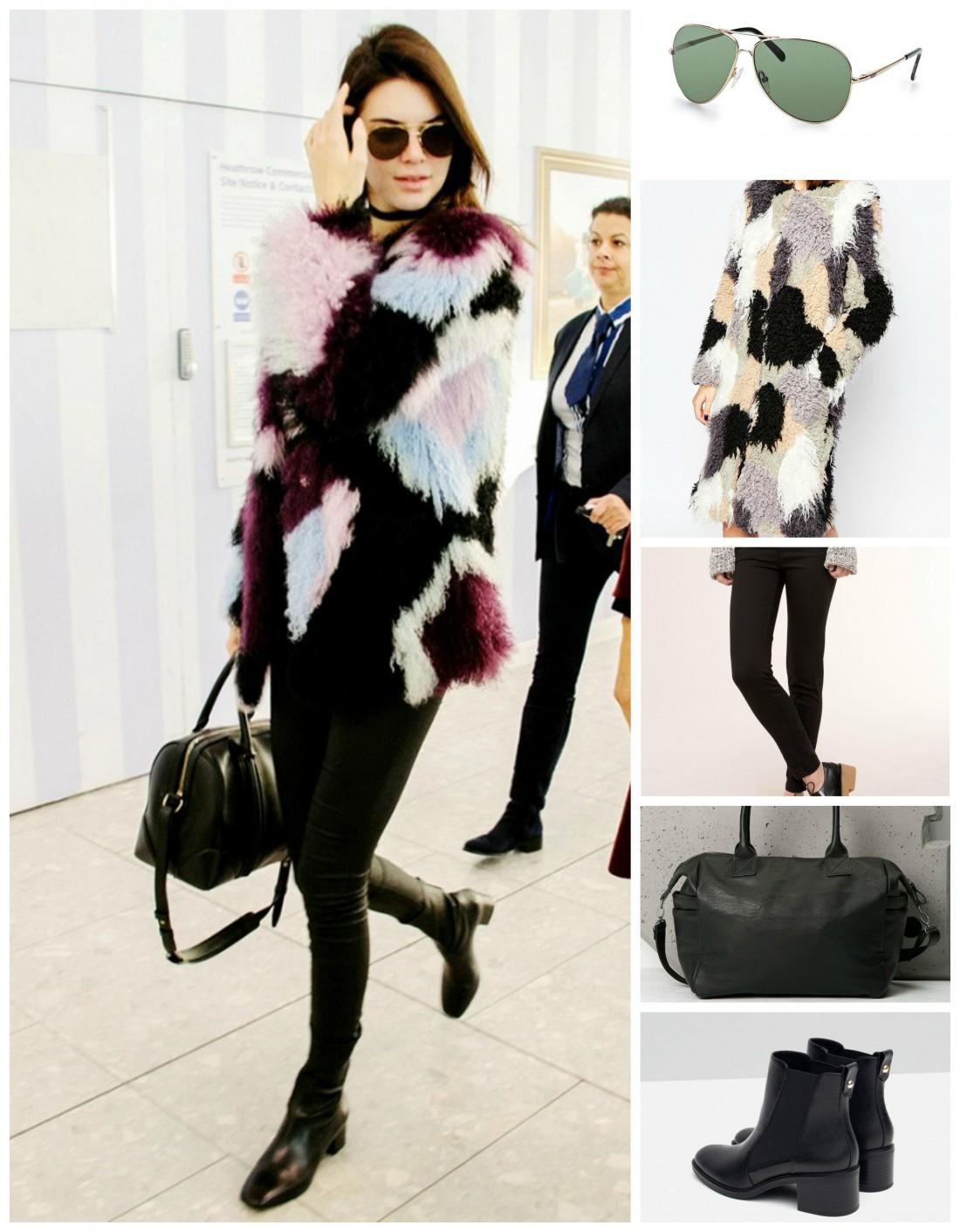 Очки Roxy (773 грн.), шуба Asos (180 $), брюки Pull & Bear (599 грн.), сумка Bershka (899 грн.), ботинки Zara (999 грн.)