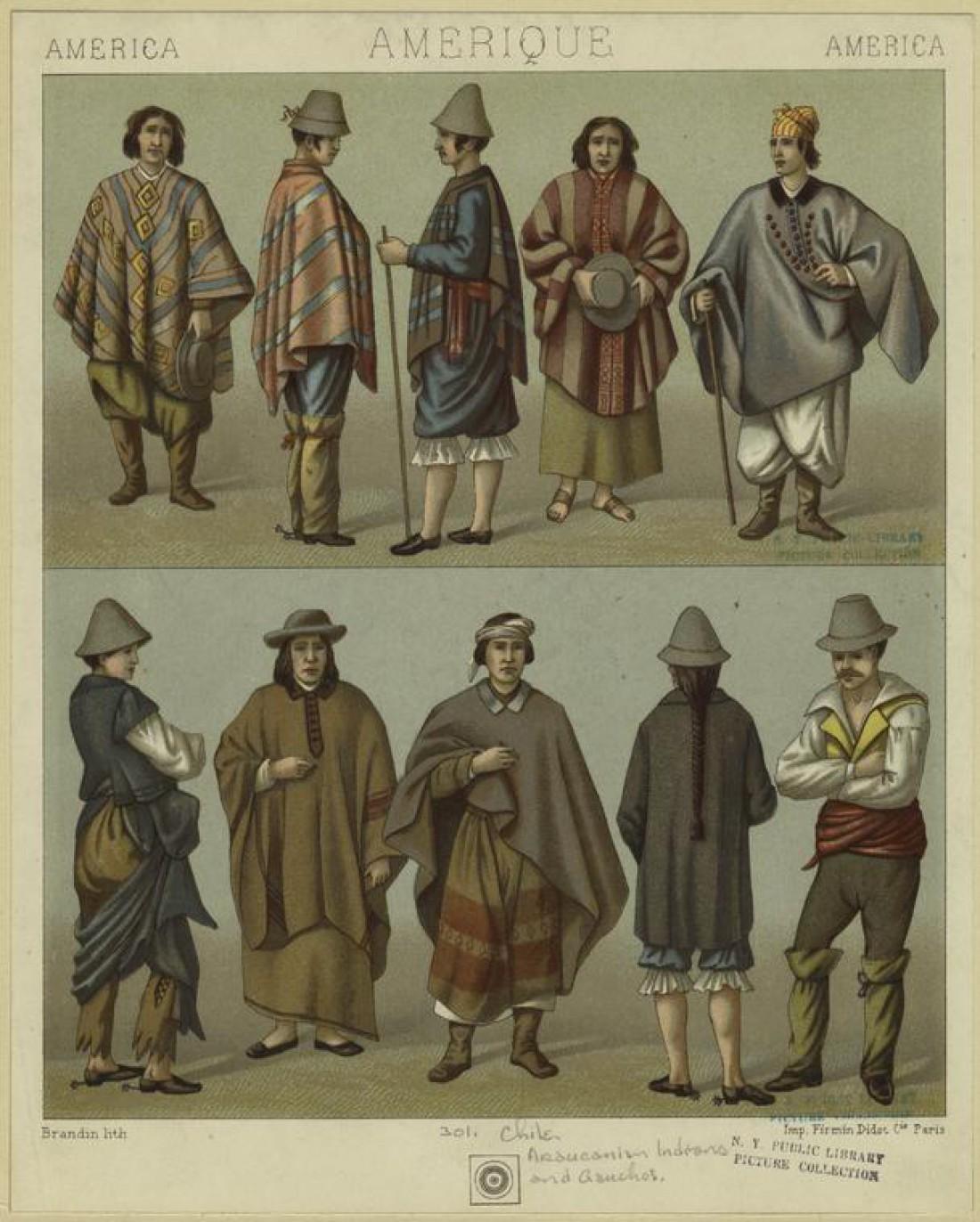 Арауканы (индейцы в Чили и Аргентине) и гаучо (этническая группа в Аргентине) в пончо