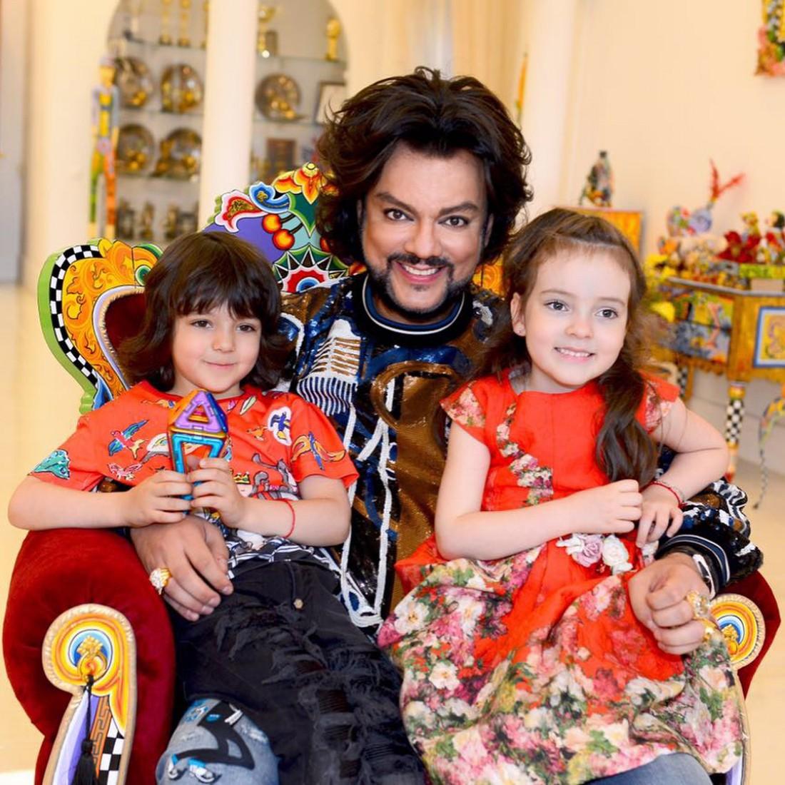 Филипп Киркоров с сыном Мартином и дочкой Аллой-Викторией