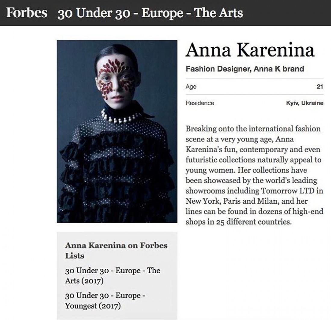 Anna K попала в рейтинг журнала Forbes