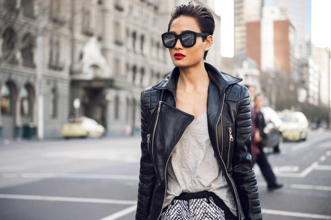 Яркие образы модниц в кожаных куртках
