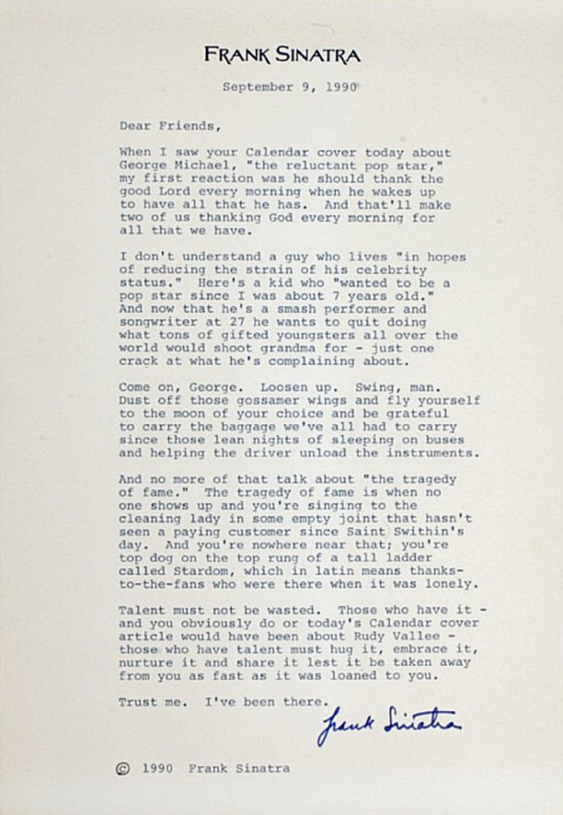 В Сети появилось письмо Фрэнка Синатры, написанное Джорджу Майклу
