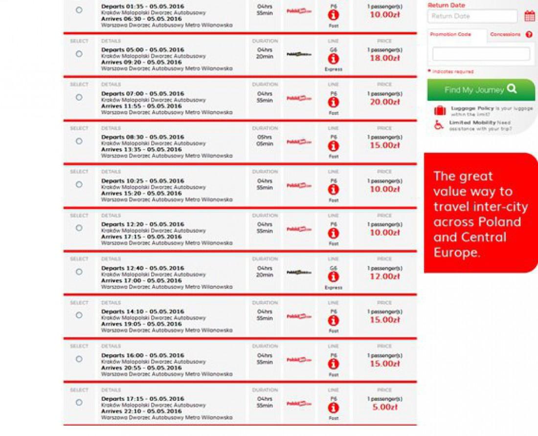 Примеры цен на Polski Bus: актуально на 24.03.2016
