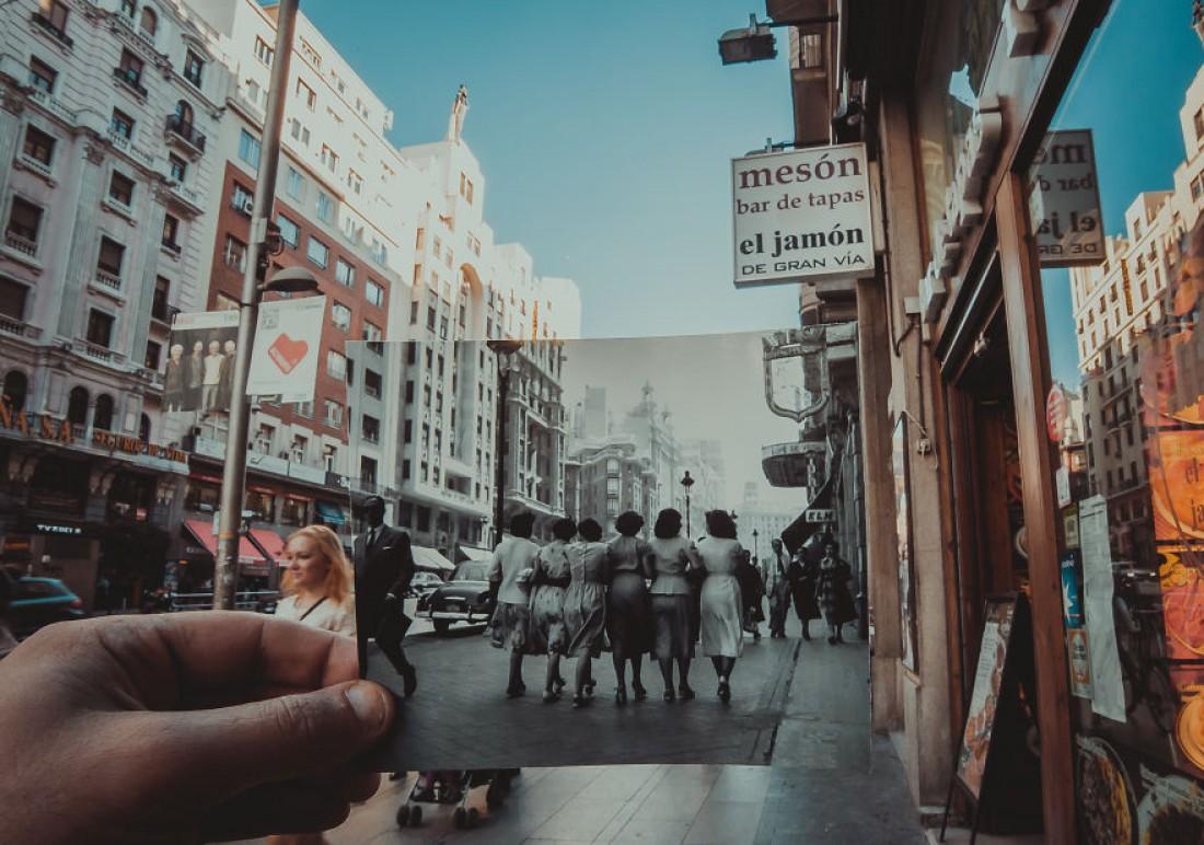 Старое фото в современной обстановке: Мадрид