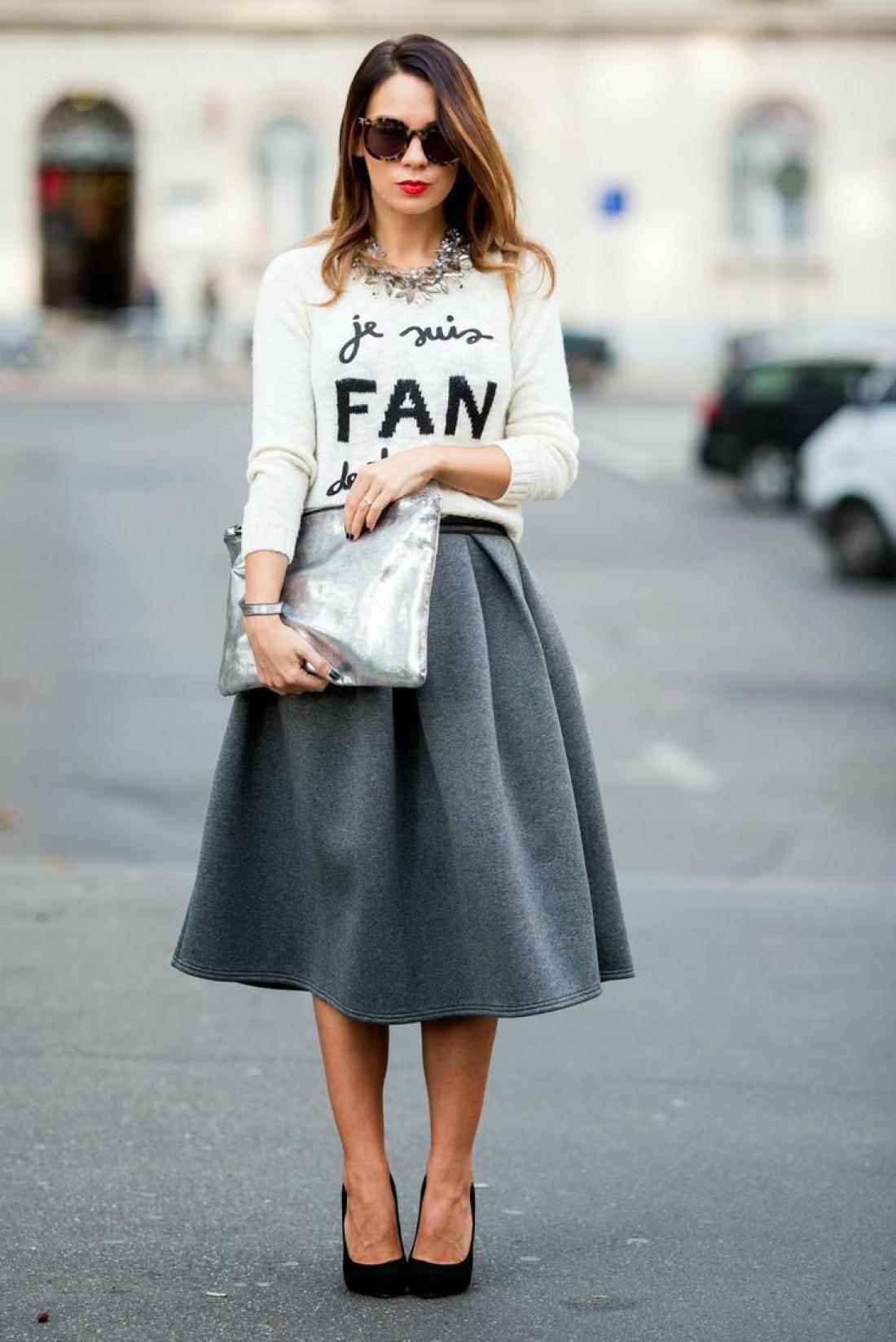 Модные образы с миди юбкой