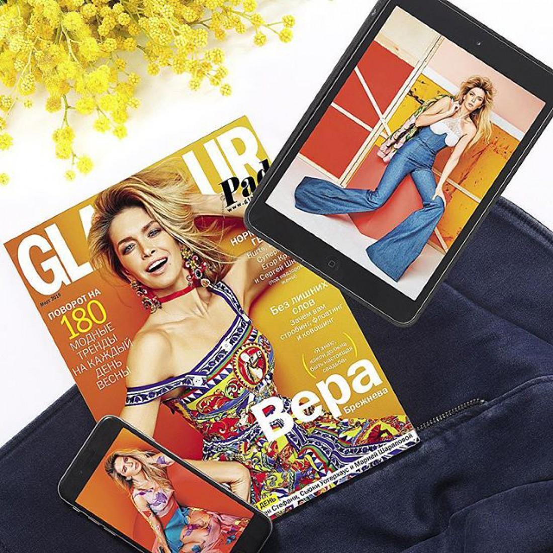 Вера Брежнева украсила обложку мартовского номера Glamour
