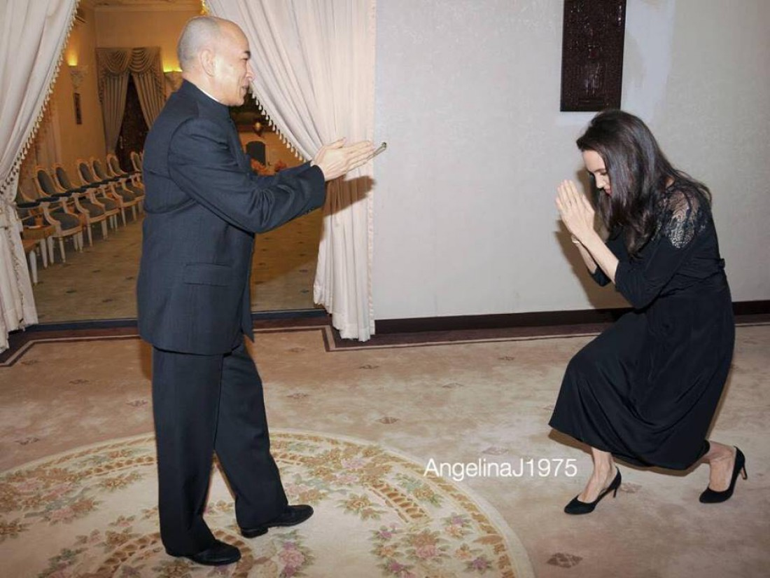 Король Камбоджи и Анджелина Джоли