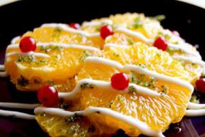 Апельсины с мятой и йогуртом