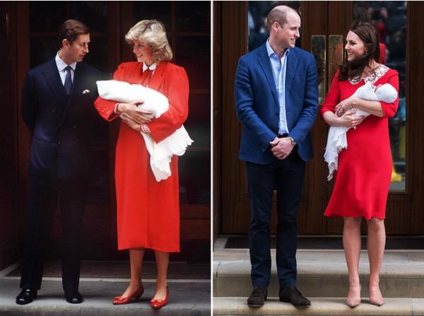 Принцесса Диана и Кейт Миддлтон на выходе из родильного дома