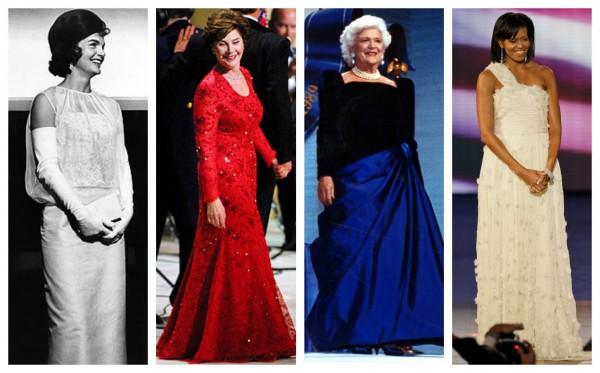 Первые леди на инаугурация: Жаклин Кеннеди, Лора Буш, Барбара Буш, Мишель Обама (слева направо)