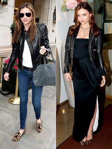 Модель Миранда Керр доказала, что косуху можно носить и с платьем