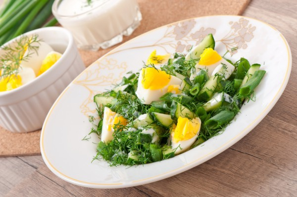 Рецепт                  Салат из кабачков, яиц и зелени