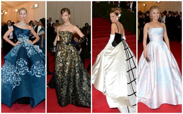 Каролина Куркова, Карли Клосс, Сара Джессика Паркер и Хайден Панеттьери предпояли бальные платья (слева направо)
