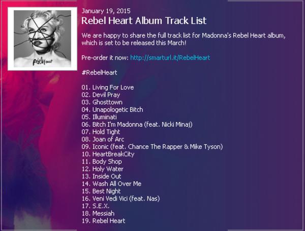 Трек-лист нового альбома Rebel Heart