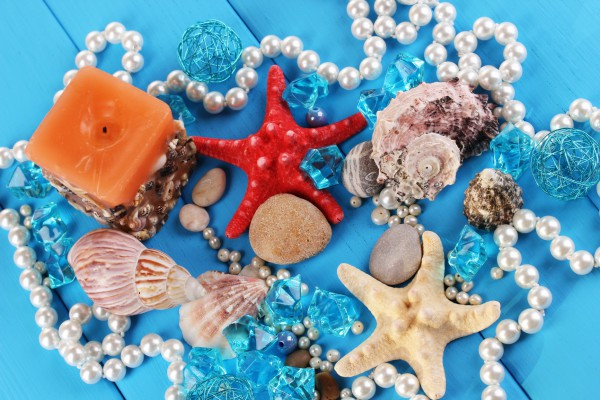 Морские ракушки камни можно перемежать бусинами