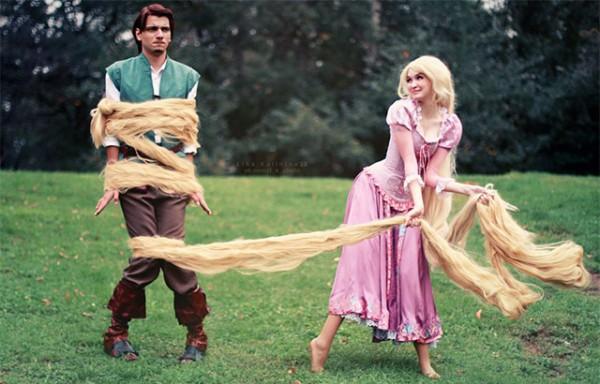 Костюмы на Хэллоуин для пар: Рапунцель и принц