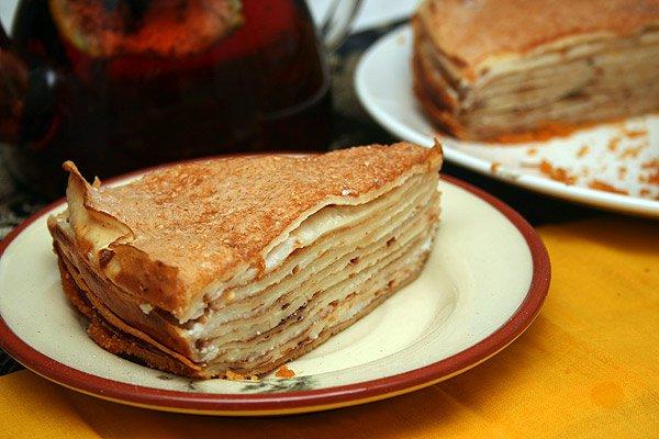 Рецепт                  Блинчатый пирог с творожной начинкой