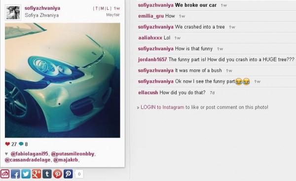 София выложила в Сеть фото разбитого Porsche Panamera.