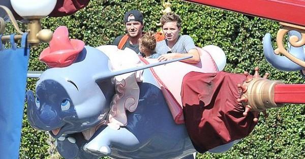 Дэвид, Бруклин и Харпер взлетают на слонике