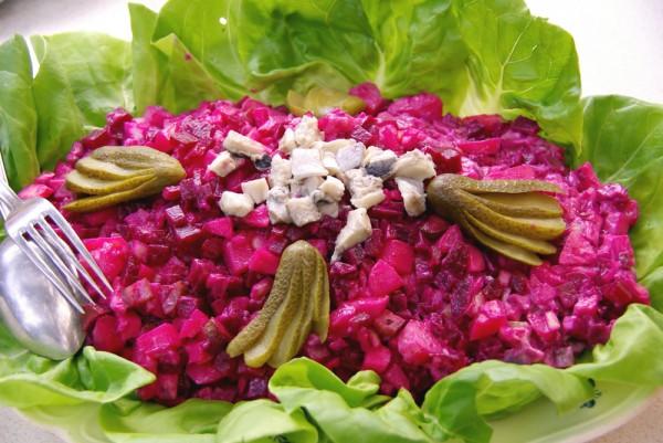Рецепт                  Салат из свеклы с сельдью