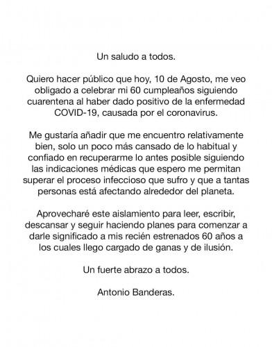 Антонио Бандерас сообщил о заражении COVID-19 в свой юбилей