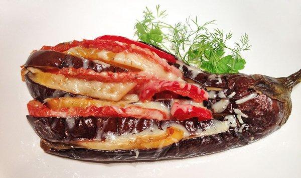 Рецепт                  Закуска Павлиний хвост из баклажанов
