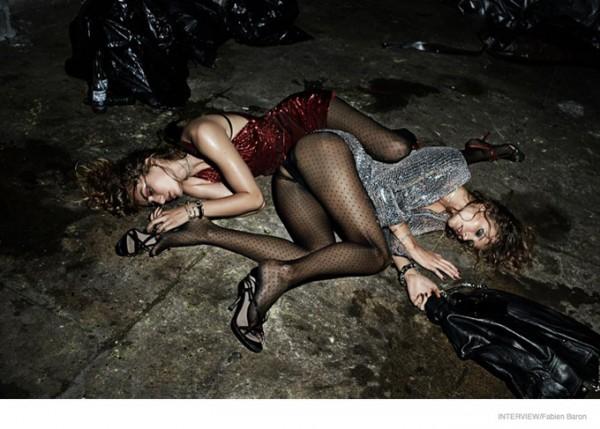 Супермодели после вечеринки: Фотосессия в Interview Magazine