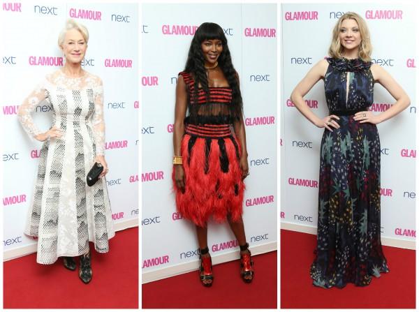 Звездные гости церемонии Женщина года 2014 по версии журнала Glamour: Актриса Хелен Миррен, модель Наоми Кэмпбелл и актриса Натали Дормер (слева направо)