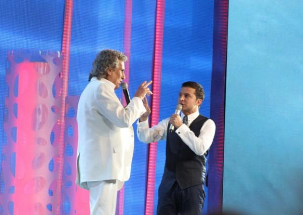 Итальянский композитор Тото Кутуньо и украинский телеведущий Владимир Зеленский (2013 год)