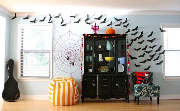 Декор комнаты летучими мышами