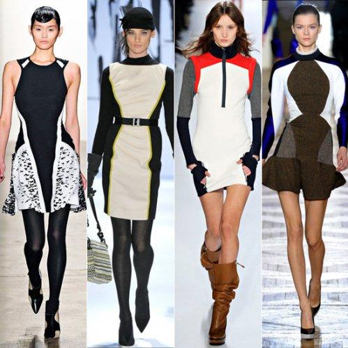 Спортивный шик: платья с акцентами в спортивном стиле появились в коллекциях Ohne Titel, Milly, Lacoste, Stella McCartney (слева направо)