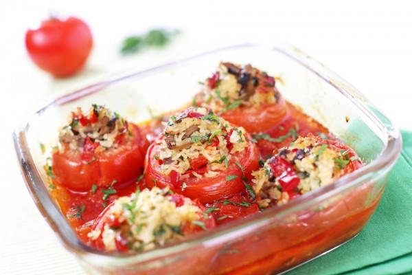 Рецепт                  Запеченные помидоры с рисом и грибами