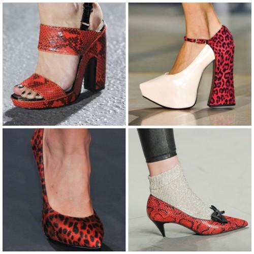 Яркий акцент: красная обувь из экзотической кожи или с животным принтом