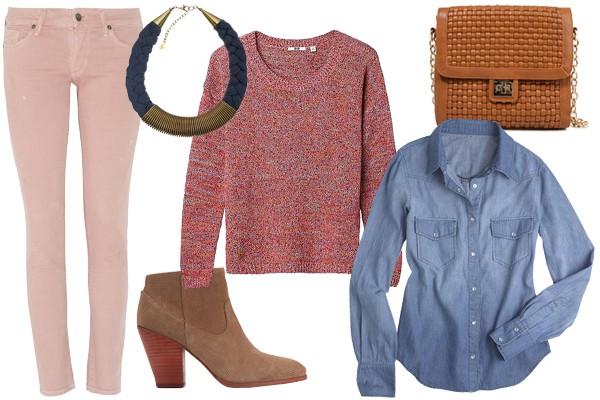 Для выходных, прогулки за городом или для шоппинга, создай многослойных образ с помощью джемпера в тон и джинсовой рубашки. Идеально дополнят образ замшевые удобные ботильоны и крупное колье.