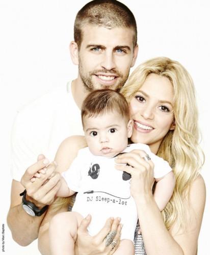 Шакира с сыном и Жераром Пике
