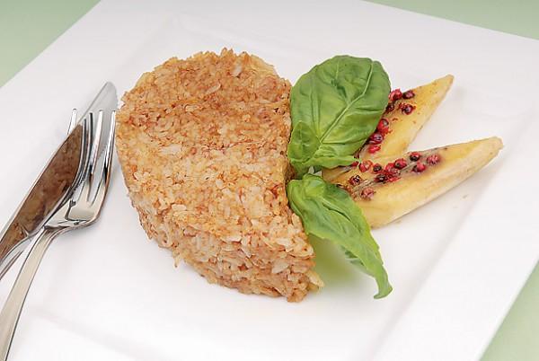 Рецепт                  Рисовый гарнир с бананами и соевым соусом