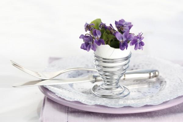 Яичную скорлупу можно использовать как миниатюрную вазу для фиалок.
