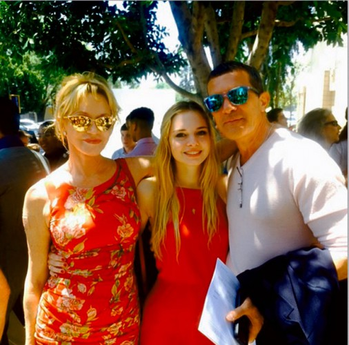 Мелани Гриффит и Антонио Бандерас с дочерью