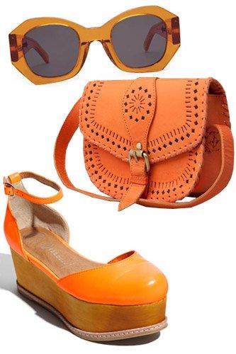 Аксессуары оранжевого цвета станут изюминкой в образе