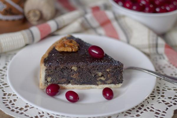 Маковый пирог с орехово-творожной начинкой