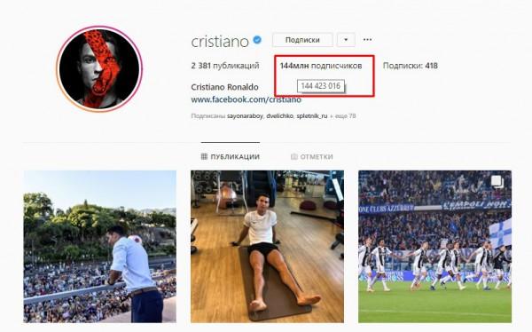 Instagram-аккаунт Криштиану Роналду